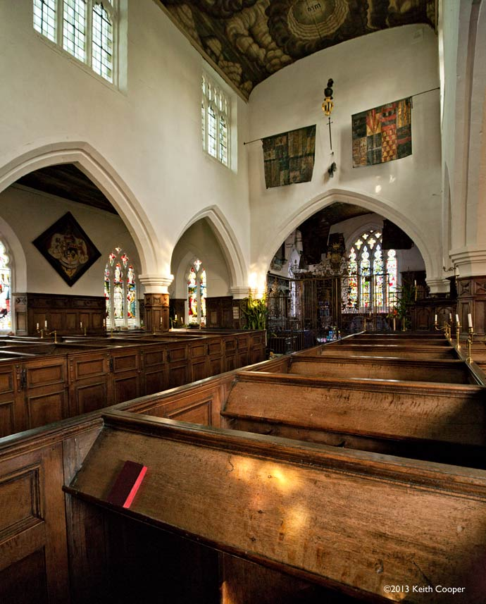 Interior of Staunton Harold church - two stitched images taken with shift lens