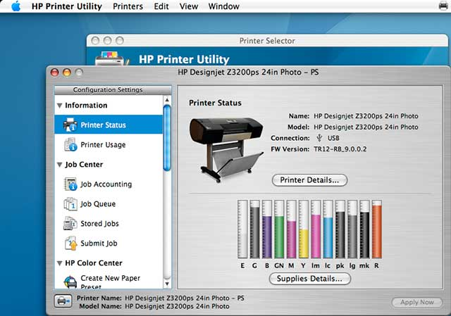 HP printer utility - ink levels