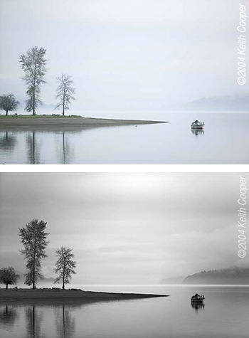 two images of hood canal to show conversion of colour to black and white