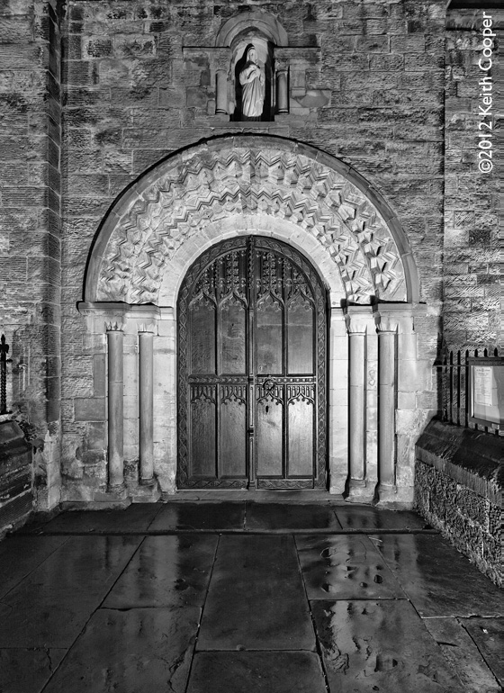 Main 12th century entrance doorway to St Mary de Castro, Leicester