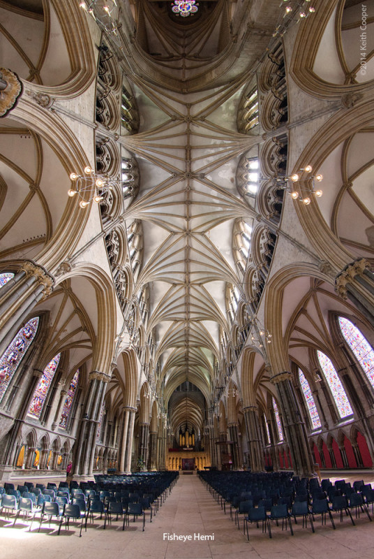 looking along the interior of Lincoln cathedral