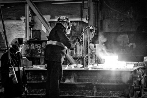 Industrial photography in a foundry