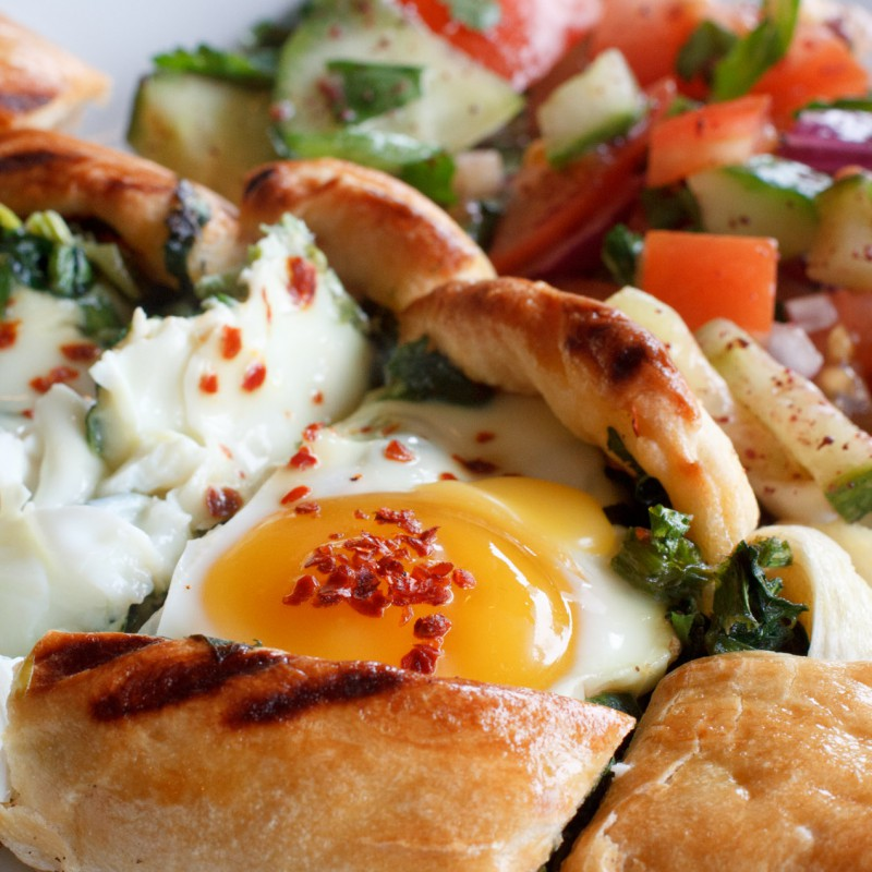 Breakfast pastry, egg and spinach
