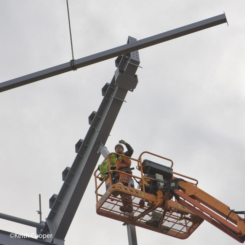 Steel building framework erection