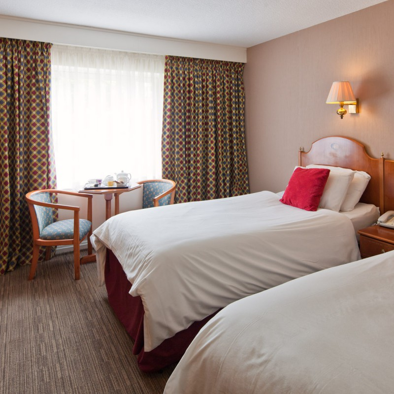 Hotel room and beds