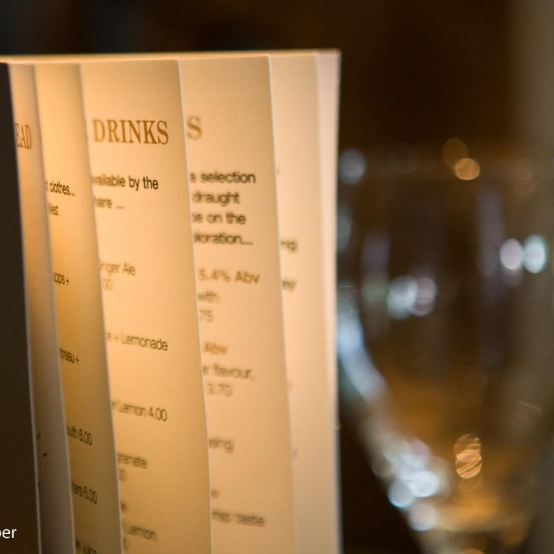 Hotel drinks menu