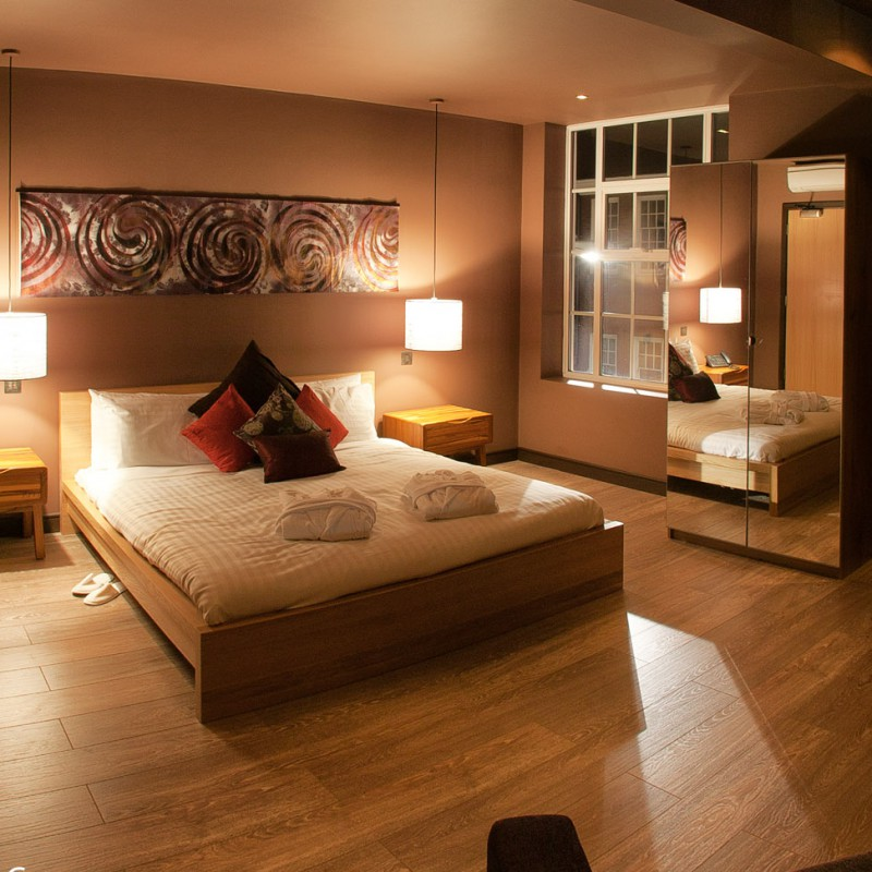 Bedroom at boutique hotel