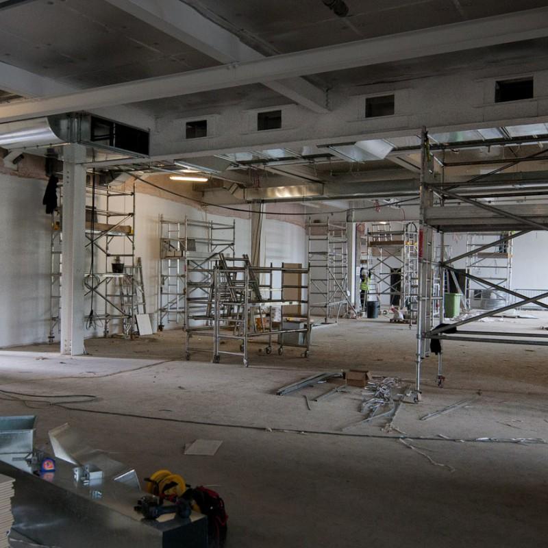 Interior construction, sports stadium