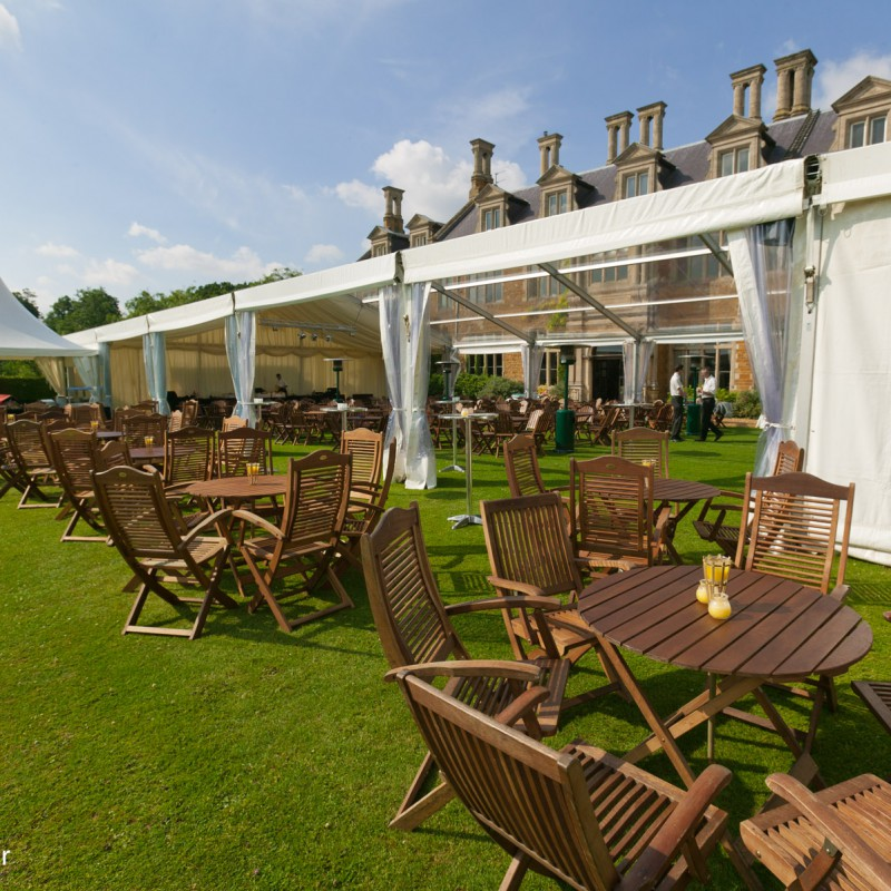 Outdoor seating for country house event