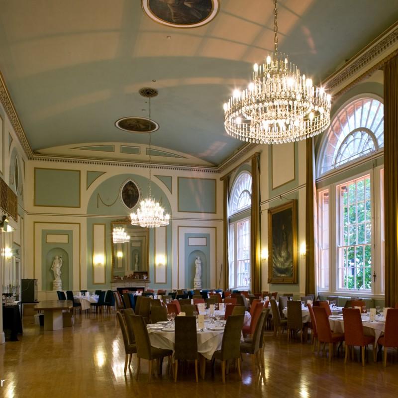 Ballroom set up for formal dinner