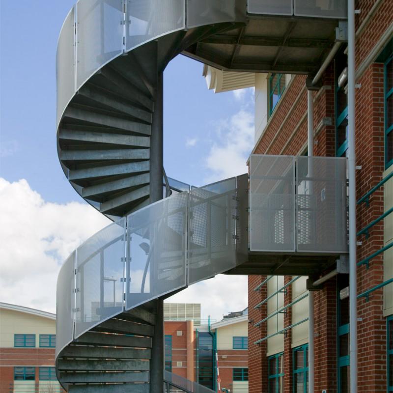 Spiral external fire escape