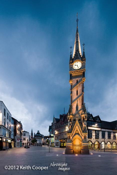 clock tower at dusk