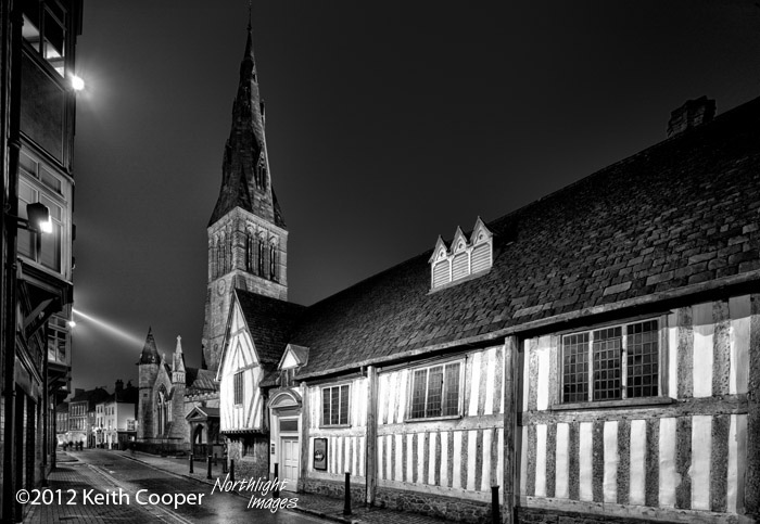 guild hall at night