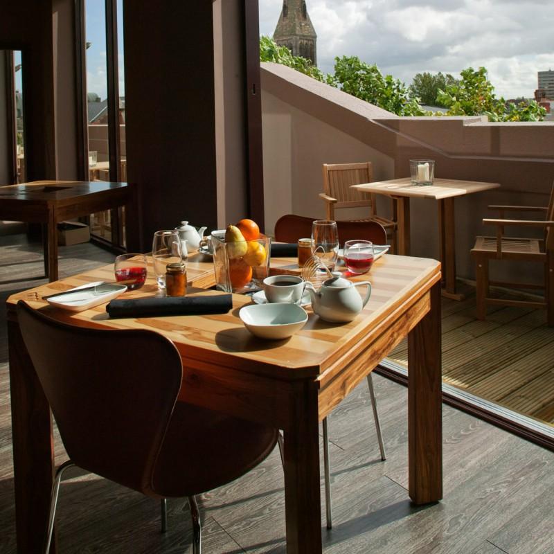 Hotel breakfast table