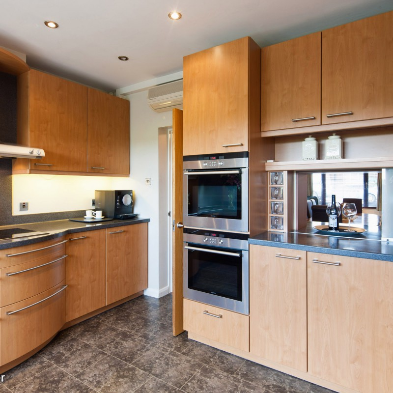 Kitchen units and view to dining room