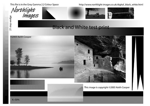 black and white printer test image