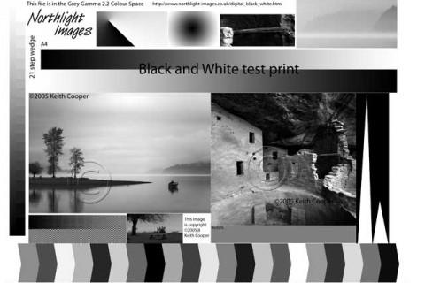A4 colormunki BW test image