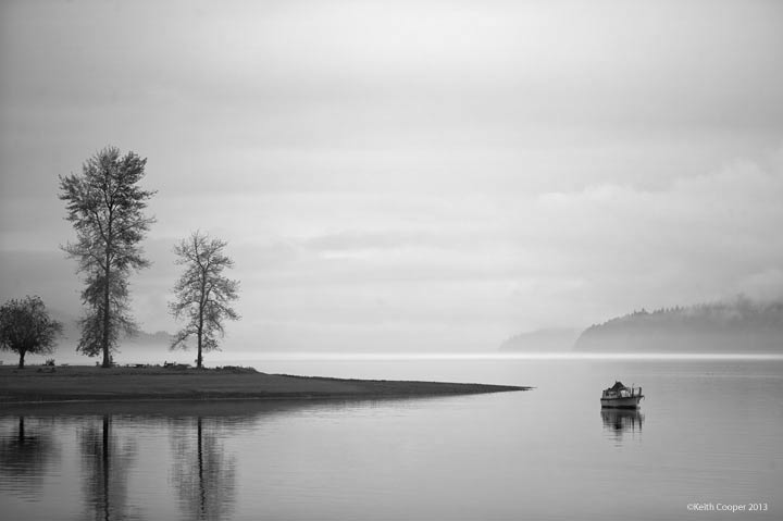 Hood canal in black and white