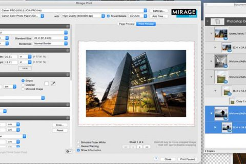 Mirage print software interface