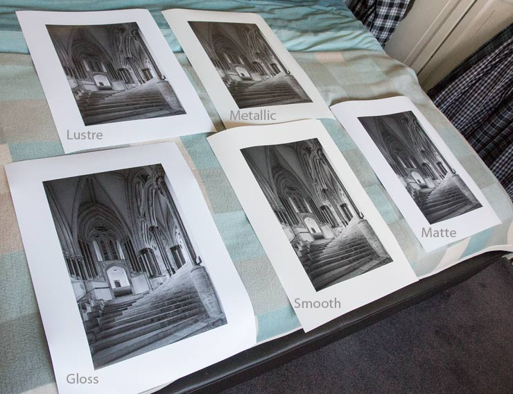 five black and white prints
