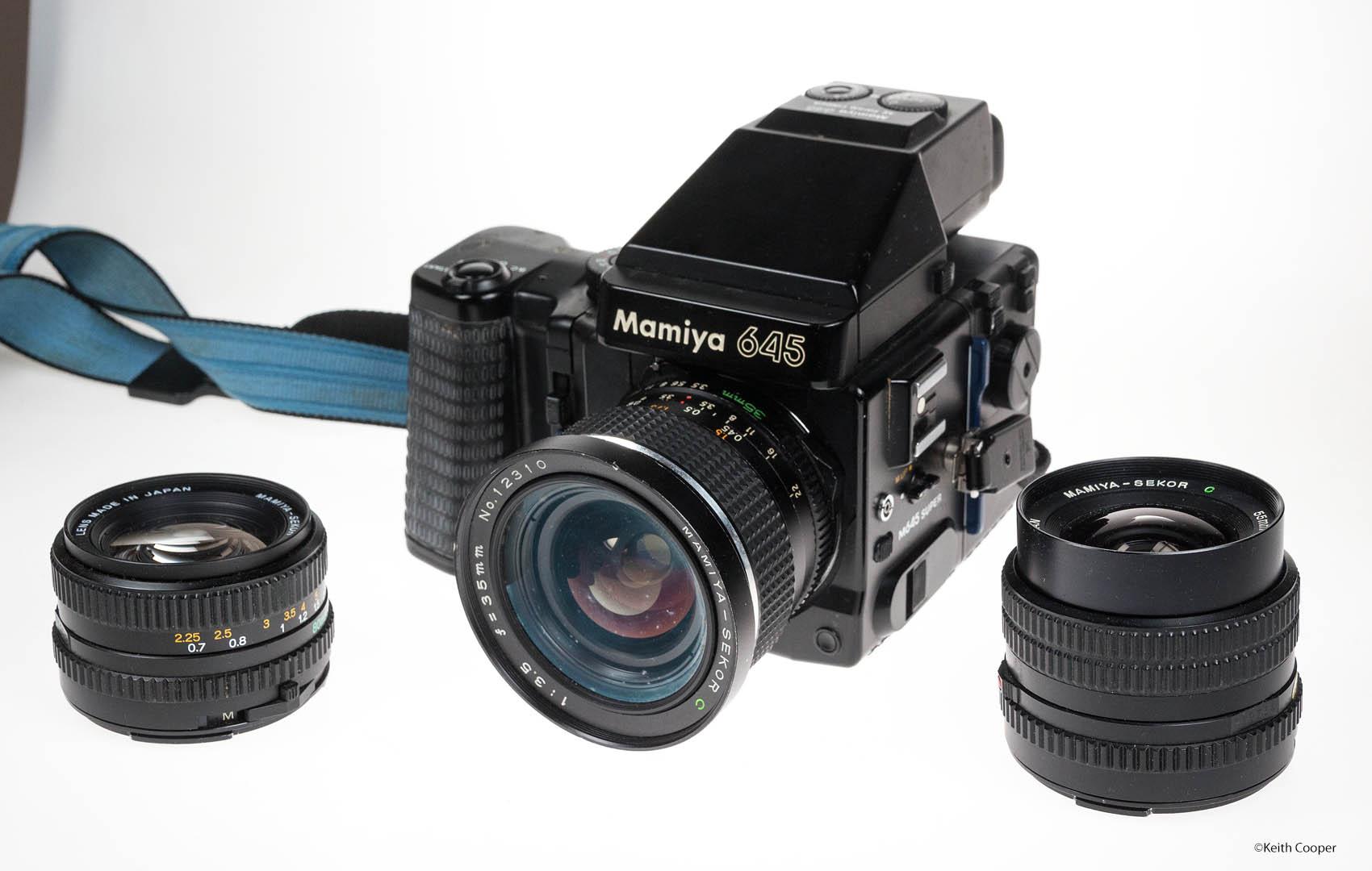 Mamiya 645 camera with 35mm, 55mm and 80mm lenses