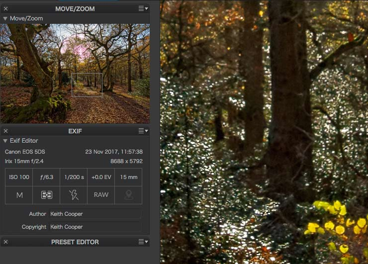 exif and zoom info