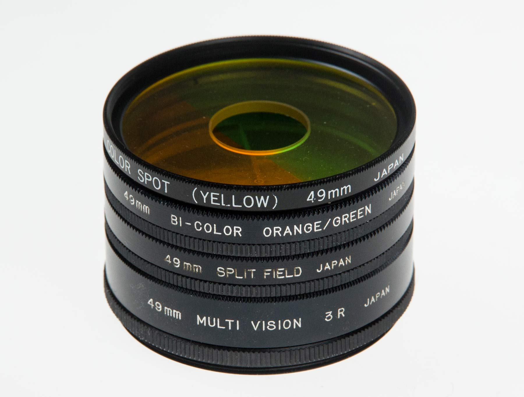 stack of 49mm lens filters